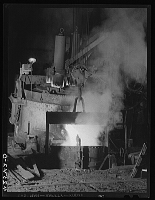 The electric furnace at the Farrell-Birmingham Corporation. Ansonia, Connecticut