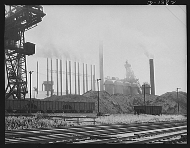 The four freedoms. All out for defense is this Eastern steel mill. The furnaces are running twenty-four hours a day as American labor and American industry cooperate in the greatest armament effort of all time