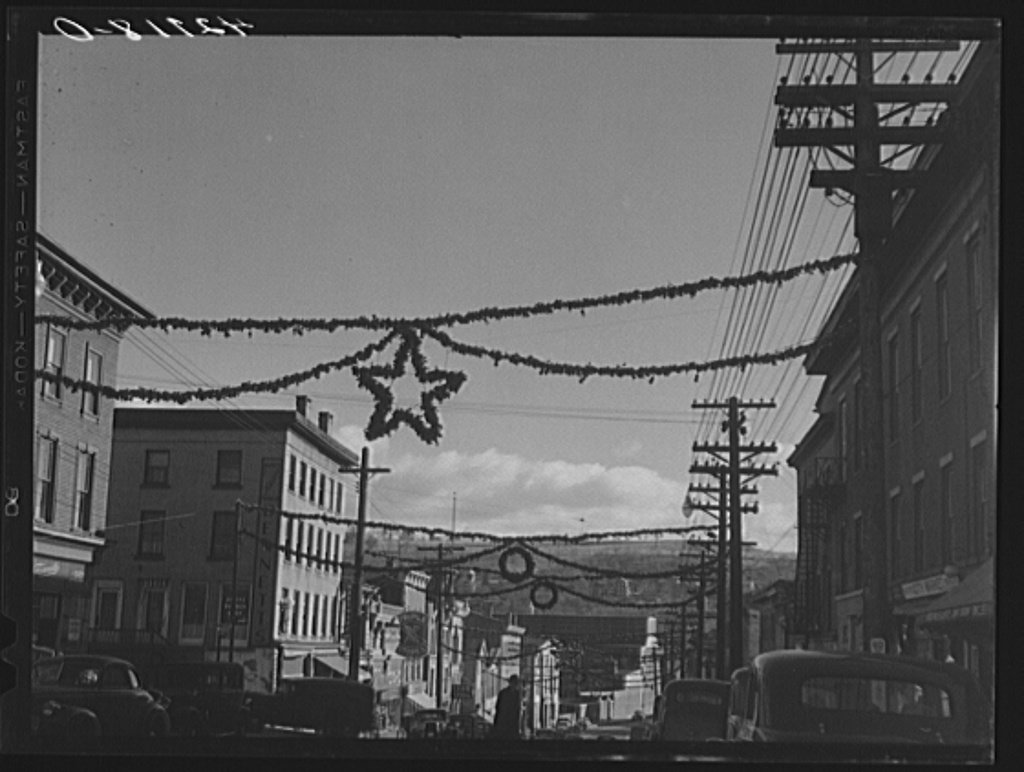 The main street of Derby, Connecticut, decorated for the Christmas season
