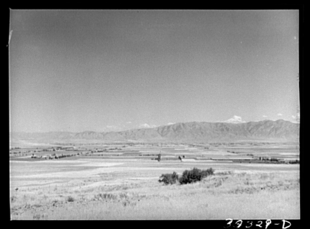 The pattern of Mormon farms looking from the dryland area east towards Tremonton, Utah