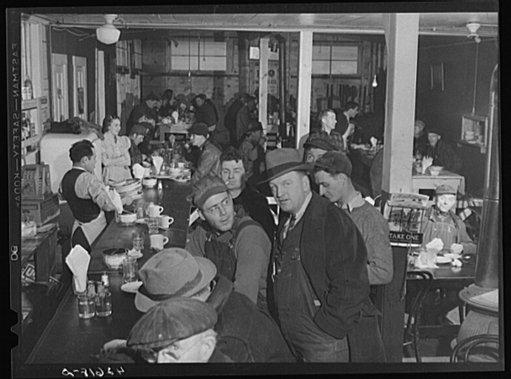 The Star Lunch, just outside the shipyard at Bath, Maine. About two hundred men come in for lunch every day. The owner had to build an addition to the restaurant to make room for all the men during lunch hour rush