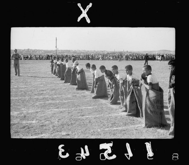 Third annual sports meeting of the government schools of the Jerusalem sub-district, on Government Arab College ground (near Government House). The sack race