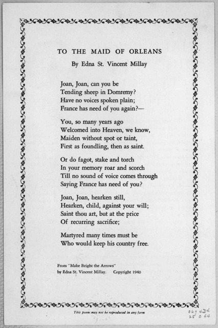 To the Maid of Orleans by Edna St. Vincent Millay. 1940.