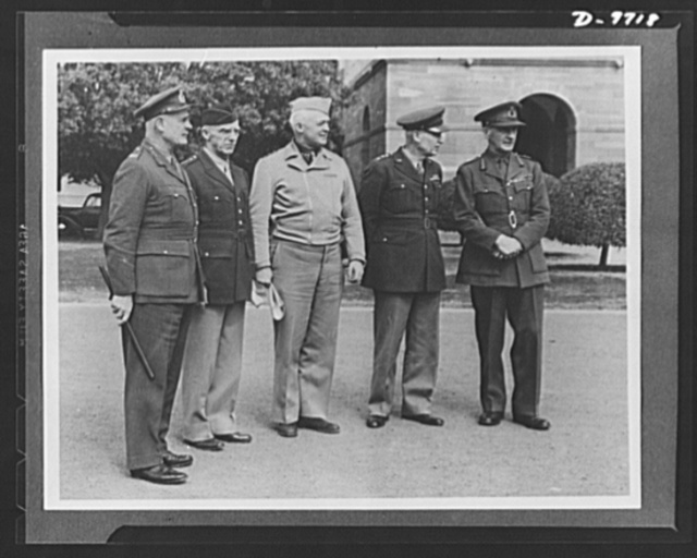 "Top-ranking Anglo-American army officials meet in New Delhi, India. Left to right: Field Marshal Sir Archibald Wavell; Lieutenant General Joseph W. Stilwell, commanding all U.S. Army troops in China, Burma, and India; Lieutenant General H.H. ""Hap"" Arnold, commanding the U.S. Army Air Forces; Lieutenant General Brehon Somervell, commanding the entire Service of Supply for the U.S. Army; and Field Marshal Sir John Dill"