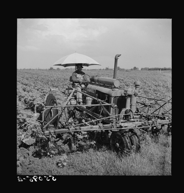 Tractors have taken the place of the mule and the plow on Hopson plantation, where day labor is used almost exclusively, displacing the old tenants on the place. Clarksdale, Mississippi Delta, Mississippi