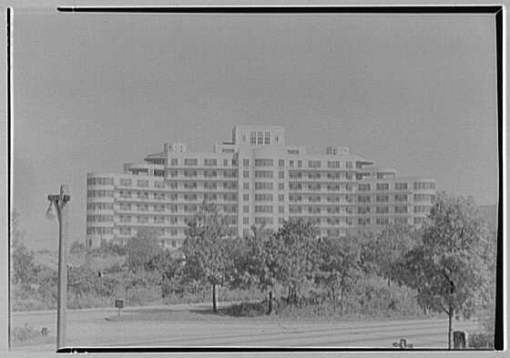 Triboro Hospital for Tuberculosis, Parsons Blvd., Jamaica, New York. Exterior over Grand Central Parkway
