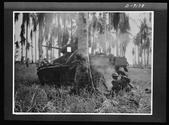 Troops in Australia. In the final assault on Buna, American light tanks, manned by Australian crews, smashed through Japanese pillboxes. In this picture, taken during the actual fighting, an Australian mortar crew has fired on enemy troops 150 yards away fleeing from a busted pillbox. Note shell-torn coconut tree in foreground