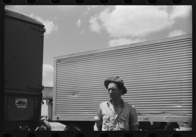 Truck driver at a truck service station on U.S. 1 (New York Avenue),  Washington, D.C.