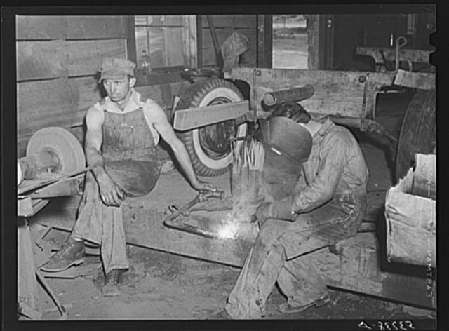 Using welding facilities at community service center. Faulkner County, Centerville, Arkansas