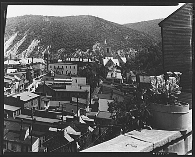 View of Mauch Chunk, Pennsylvania, from High Street showing Bear Mountain in the background