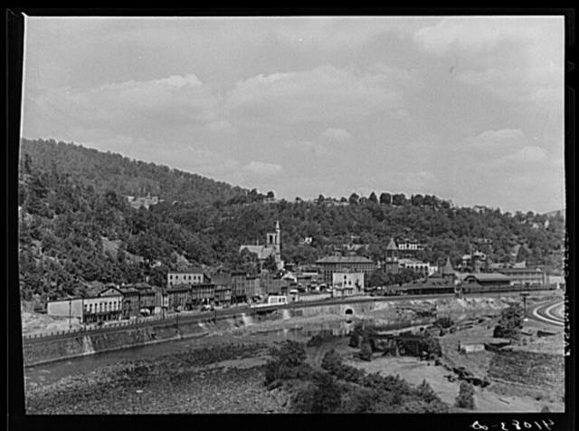 View of Mauch Chunk, Pennsylvania, showing Lehigh River in the foreground