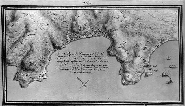 Vue de la Baye de Kings-town, Isle de St. Vincent et de la prise de cette Isle par les francois sous les ordres de Mr. le Chevr. de Rumain lieutent. de vaisseau chargé de cette expédition par Mr. d'Estaing le 16 juin 1779