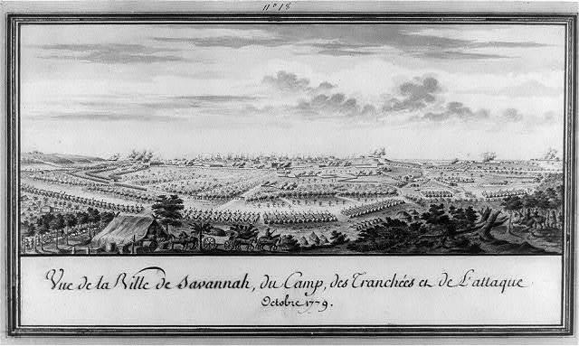 Vue de la ville de Savannah, du camp, des tranchées et de l'attaque Octobre 1779
