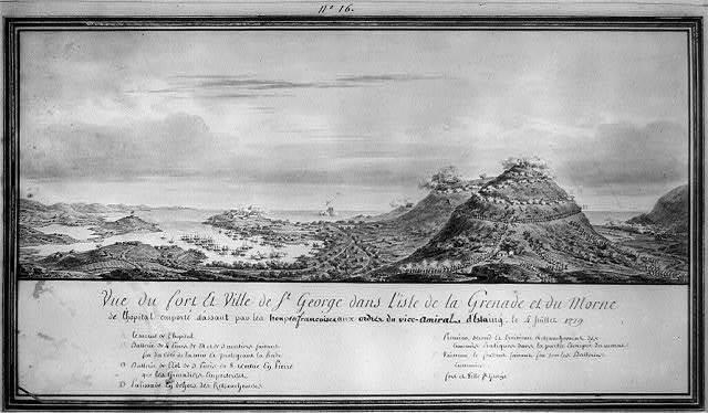 Vue du fort et ville de St. George dans l'isle de la Grenade et du Morne de l'hopital emporté d'assaut par les troupes francoises aux ordres du vice-Amiral d'Estaing le 4 juillet 1779