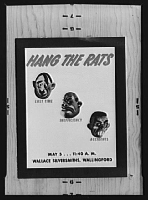"""War Production Board (WPB) poster. """"Hang the Rats."""" The back cover of the """"invitation to a hanging"""" of effigies at the Wallace Silversmiths plant war production drive"""