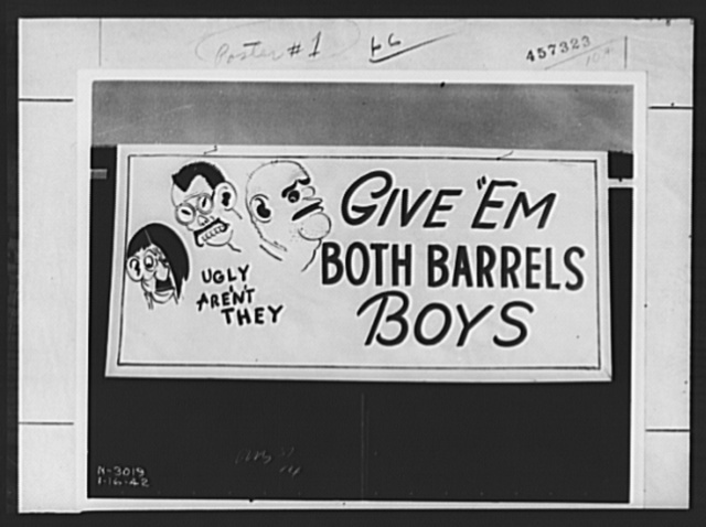 "War production drive poster. ""Give 'Em Both Barrels, Boys."" One of the huge posters which employees of the Northern Pump Company, of Minneapolis, place on the sides of freight cars leaving the plant. The ideas originated with the men themselves. In this way the labor-management committee broadcasts to the countryside its resolve to help win the war. It is estimated that millions of Americans see these traveling posters as they move across the country to their destinations"