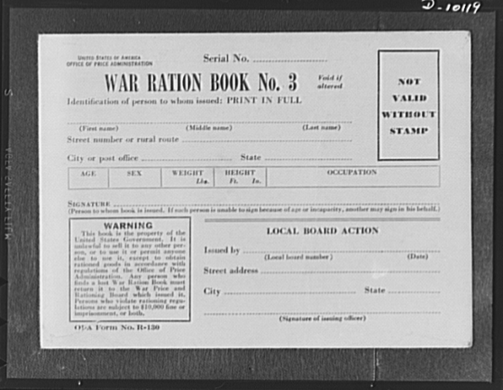"""War ration book no. 3. This new ration book, replacement for present books when their stamps are used up, will be distributed during the early summer. It contains four pages of """"point"""" stamps, similar to the point stamps in war ration book 2, though slightly different in design and printed in brown ink. It also contains four pages of """"unit"""" stamps for the type of rationing now used for sugar, coffee, and shoes. Each page of fourty-eight stamps bears the design of a different war machine, including guns, tanks, aircraft carriers and planes"""