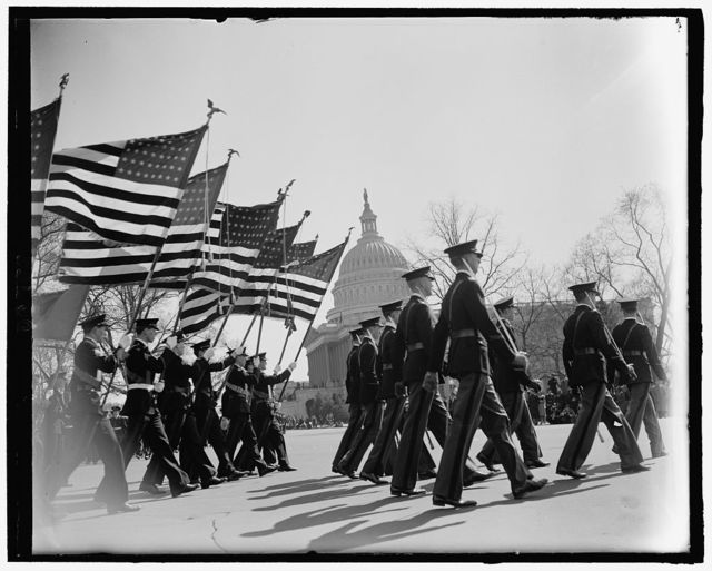 Washington High School Cadets as they pass the Capitol in the Army Day Parade. April 1940