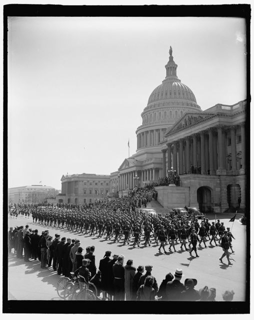 [Washington High School Cadets as they pass the Capitol in the Army Day Parade. April 1940]