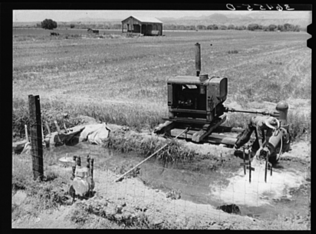 Water for irrigation is pumped in farming section of Solomonsville, Arizona. Crops here are cotton, alfalfa, corn and small grains