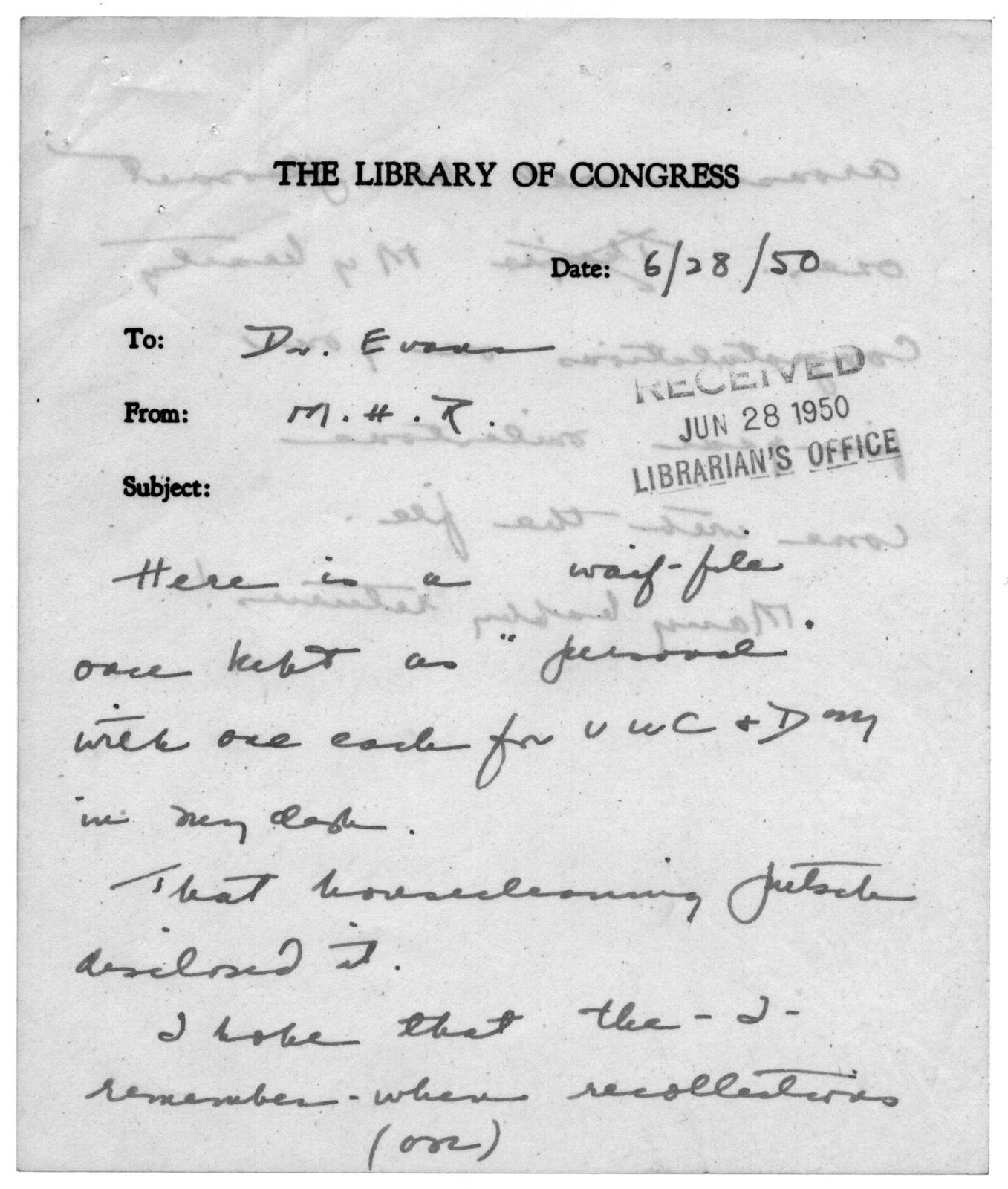 """""""What Reference Librarians Can Further Do to Help Our American Democracy in It's Efforts for Protection,"""" by Luther Harris Evans, December 29, 1940"""