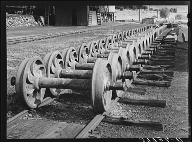 Wheels used on railway coaches and cars. Railroad shops at Durango, Colorado