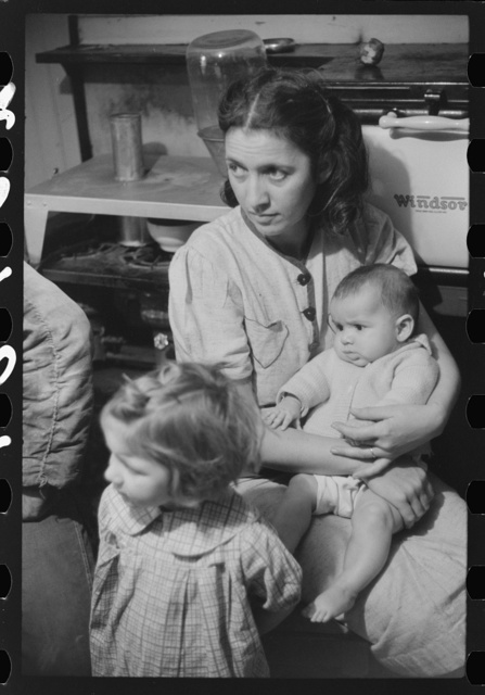 Wife and children of Dennis Decosta, Portugese FSA (Farm Security Administration) client, owns twelve cows on a small farm in Little Compton, Rhode Island