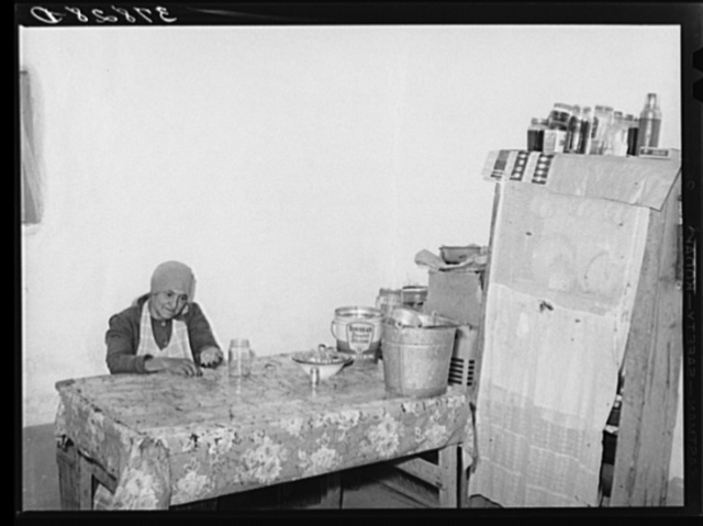 Wife of farmer of Spanish extraction picking over beans for cooking. Concho, Arizona