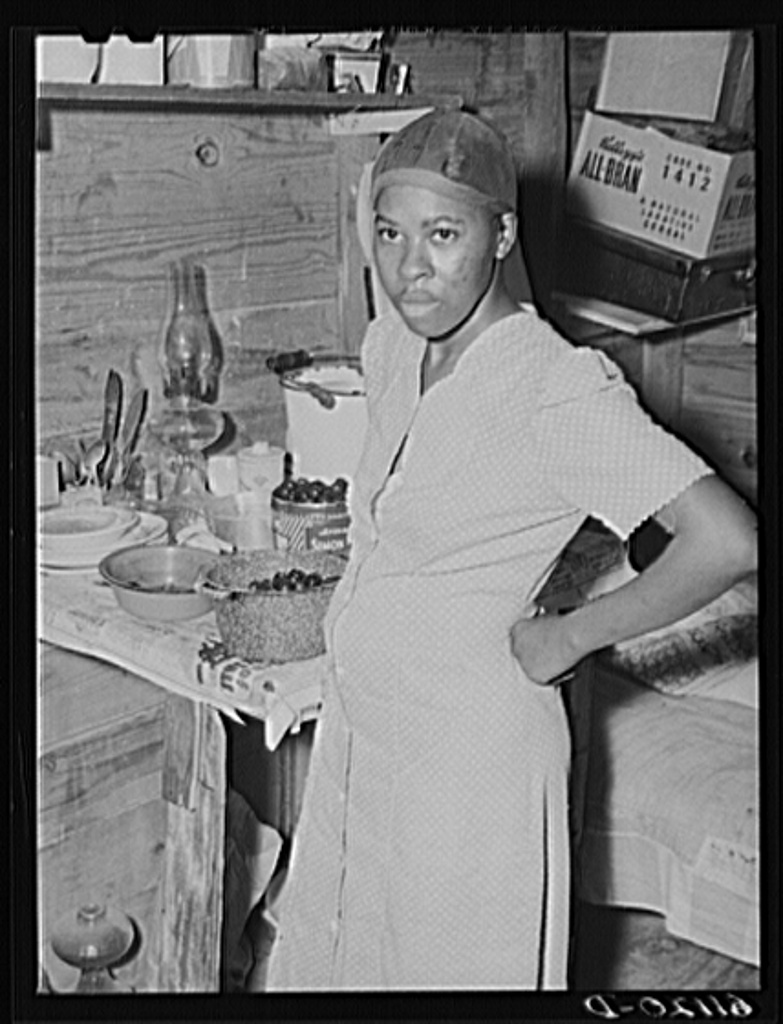 Wife of migrant fruit picker. They live in a one-room windowless shack on property of grower. Berrien County, Michigan