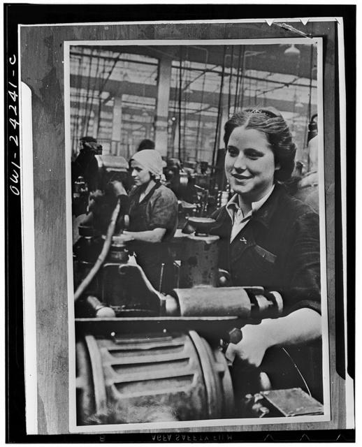 Women handling lathe in a factory in the USSR (Union of Soviet Socialist Republics)