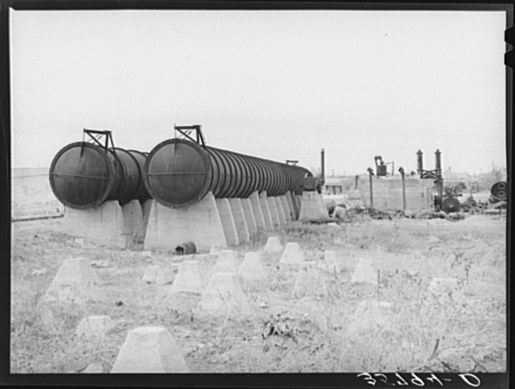 Wreckage of burned cotton gin and compress at Big Spring, Texas