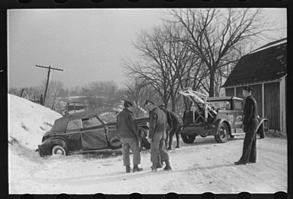 Wrecked car on Highway No. 50, Ross County, Ohio