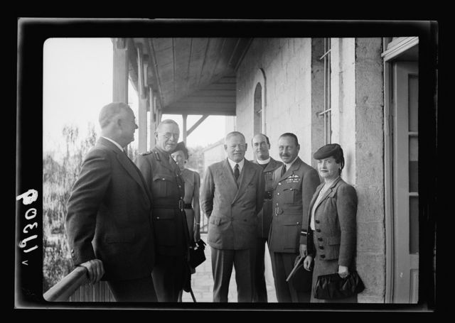 Y.M.C.A. Hostel in J'lem. [i.e., Jerusalem] for the men of H.M. Forces. The G.O.C., the District Commissioner, etc. on tour of inspection of the bld'g.[i.e., building]