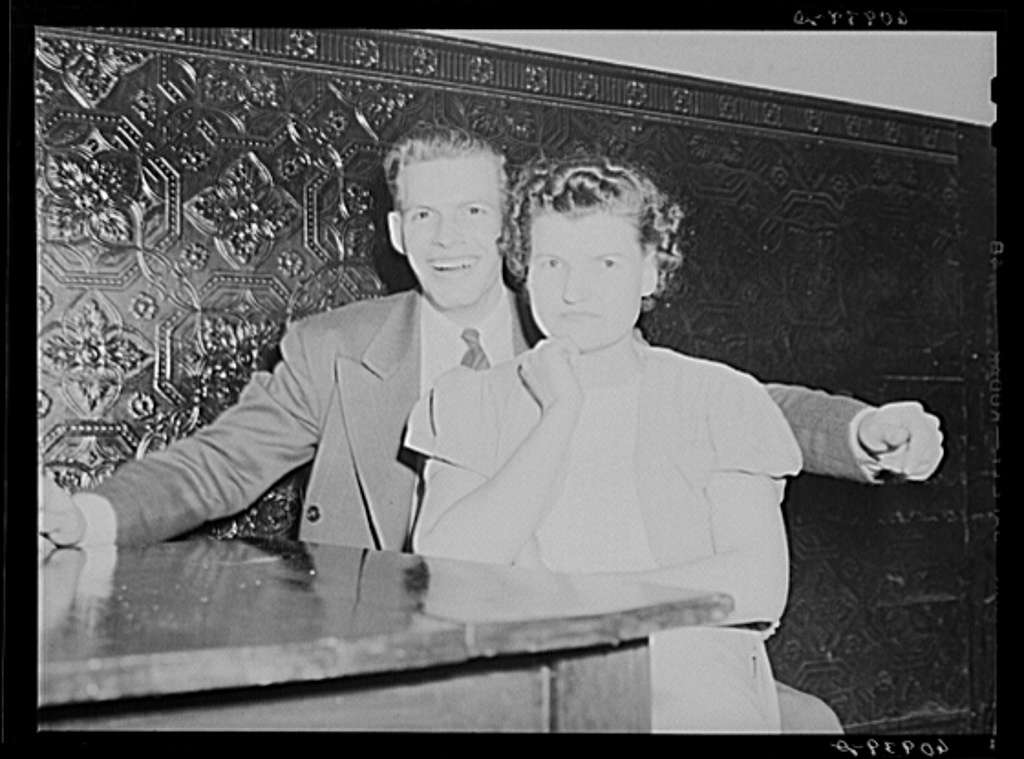 Young couple in beer parlor. Cairo, Illinois