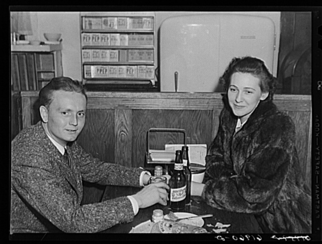 Young couple in booth at Busy Bee Restaurant. Radford, Virginia