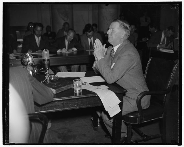 Knox before Senate committee considering his qualifications to be Secretary of Navy. Washington, D.C., July 2. Col. Frank Knox, recently nominated to be secretary of the Navy, appeared before the Senate Naval Affairs Committee today and denied charges the he is an advocate of armed intervention in the European War, 7-2-40