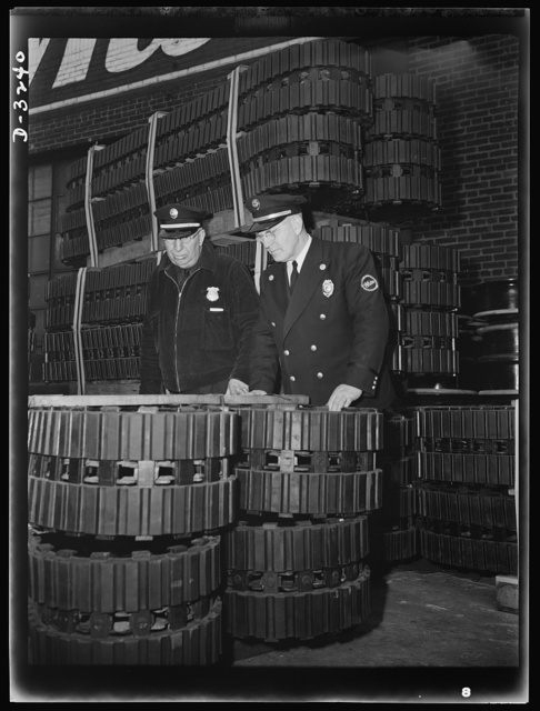A fire in a defense production plant may blot out American fighting equipment faster than enemy shell fire can do it. In plants producing war materials fire wardens make continual painstaking inspections to insure against losses and delays from fires. White Motor Company, Cleveland, Ohio