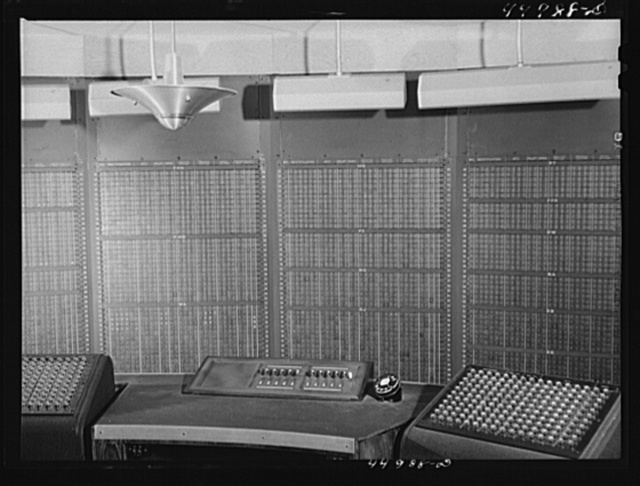 A new electrical control board just installed to take the place of the old manual one. In the airport control room. Washington D.C. municipal airport
