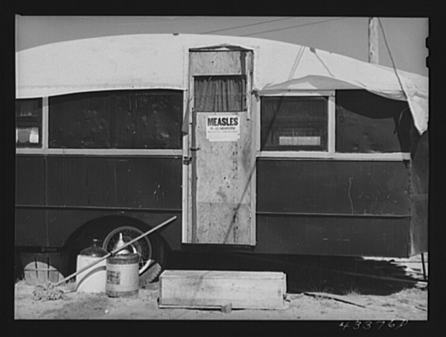 A quarantined trailer in a settlement of workers from Fort Bragg, near Silver Lake, North Carolina