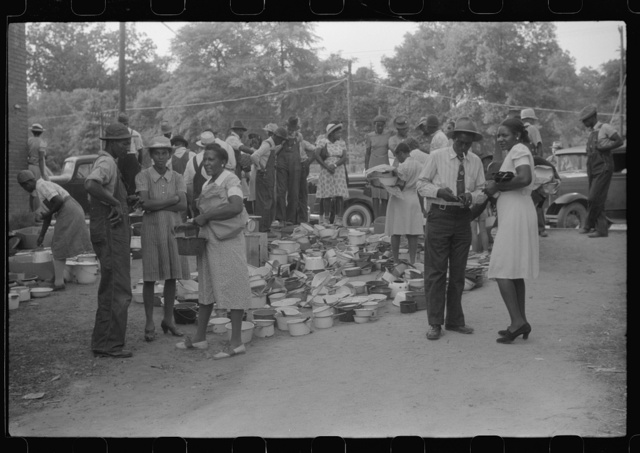 A sale of pots and pans in Union Point, Greene County, Georgia
