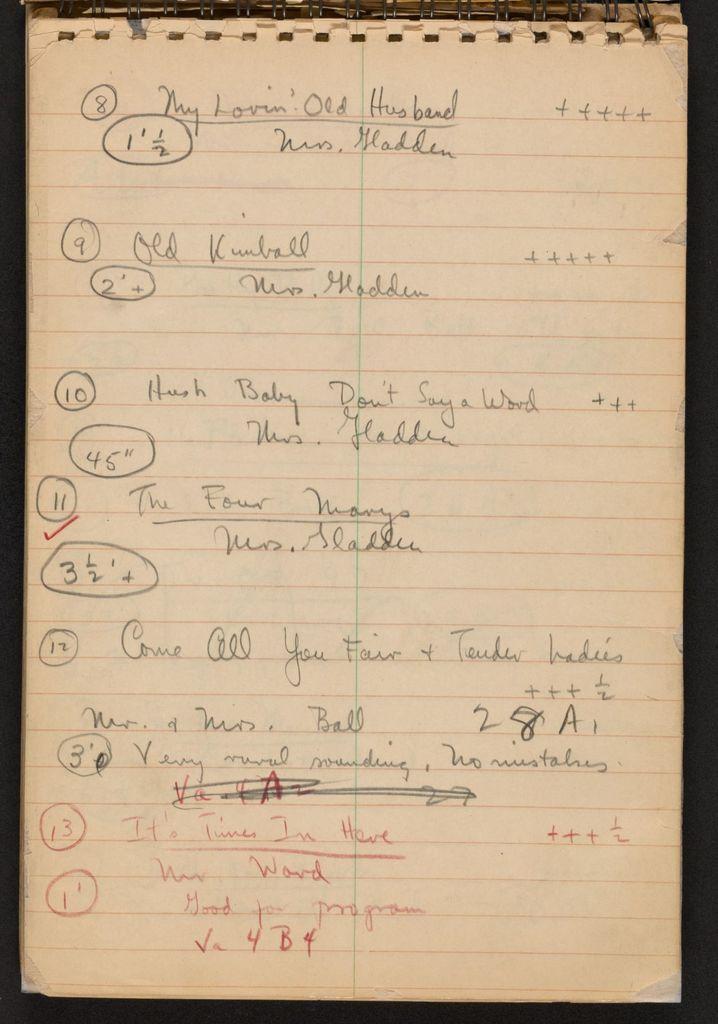 Alan Lomax Collection, Manuscripts, Southern States (AL, GA, NC, TN, VA)m 1941 June-Aug