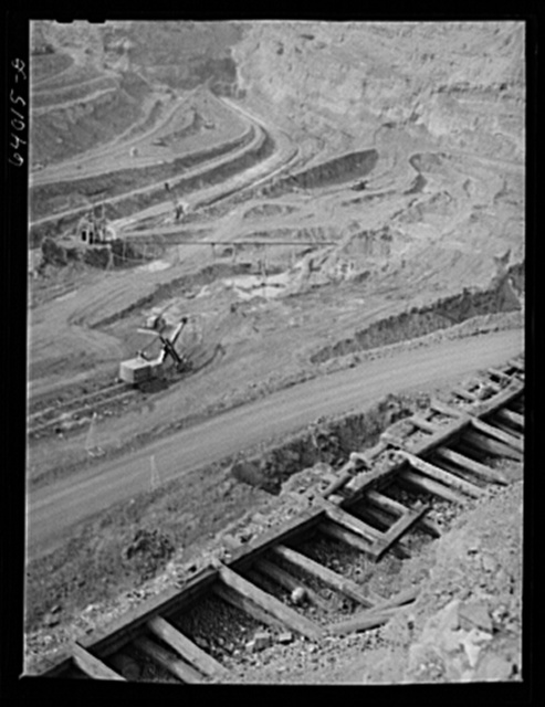 Albany Mine, Hibbing, Minnesota. Ore from this mine is brought up by truck