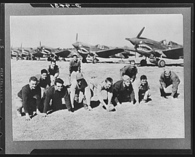 "Allied military conference in India. Working on the theory that ""all work and no play makes Jack a dull boy,"" members of a fighter squadron in China take time out between forays against the Japs to play football"