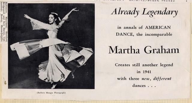 Already Legendary [advertisement for Martha Graham Tour]