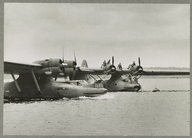 American Catalinas in the Far East For several months past American built Catalina Flying Boats have been patrolling the Indian Ocean and China Seas .... Photo shows Catalinas taxiing before a take-off.