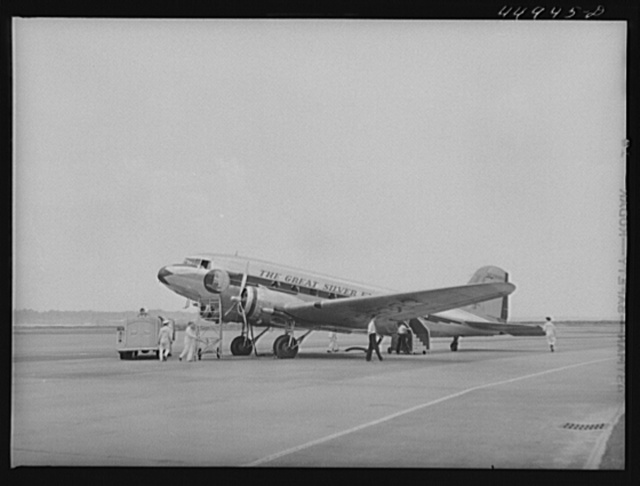 An airliner being readied for a take off. Municipal airport, Washington, D.C.