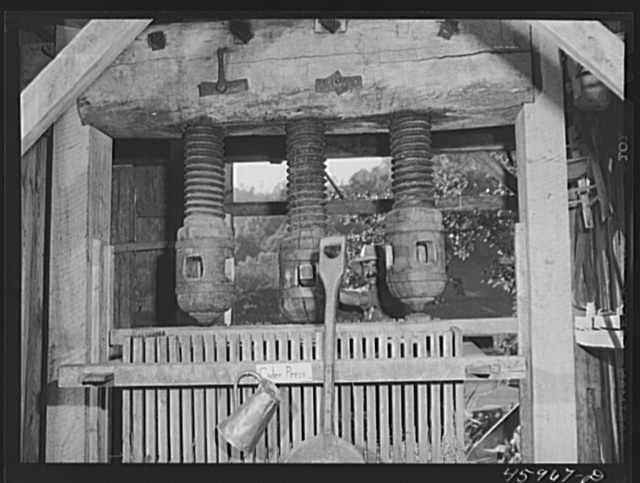 """An old cider press at the """"World's Fair"""" in Tunbridge, Vermont"""