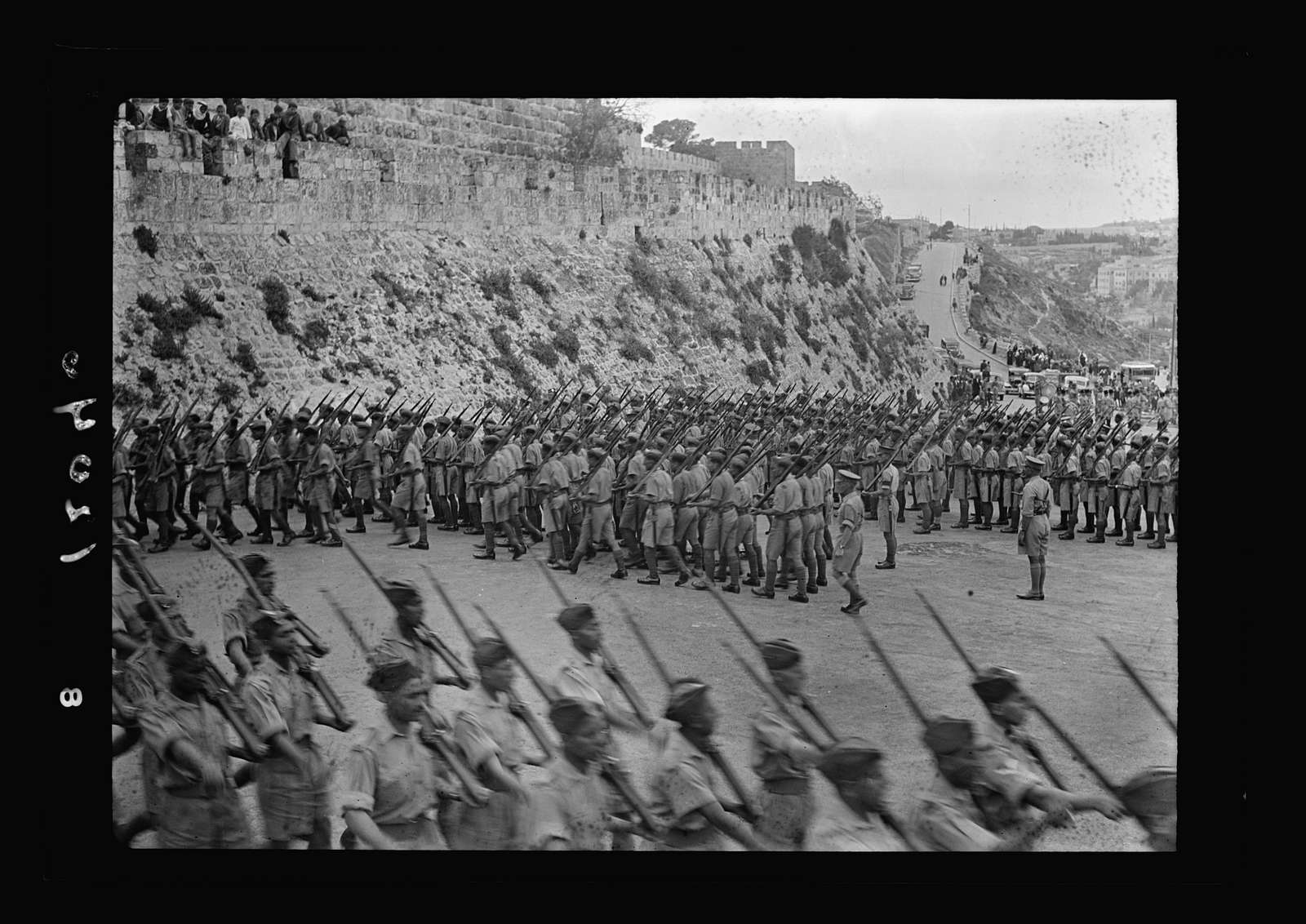 Arab recruits on parade in Jerusalem. Recruits on the March below Citadel. Taken while speeches were given