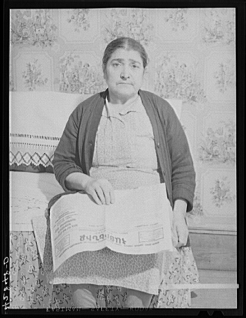 Armenian woman living on a five-and-a-half acre vegetable farm which she runs with her son-in-law and his family. They have to rely on any outside work they can get to live thru the winter. West Andover, Massachusetts