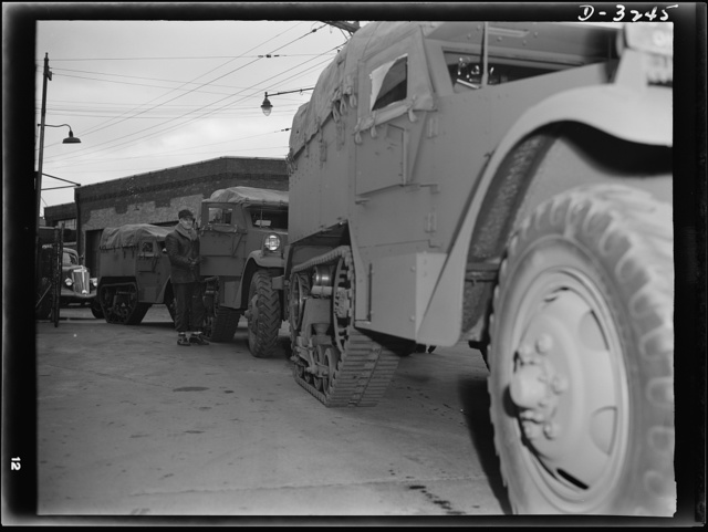 Army halftrac scout cars ready for final test. When the test drivers of a large Midwest plant get through doing their stuff, these trucks will be ready for full Army duty. White Motor Company, Cleveland, Ohio